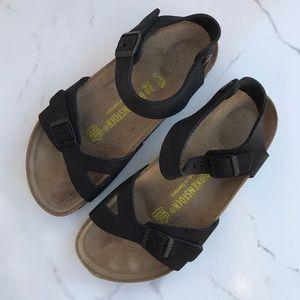 •BIRKENSTOCK• Black Matte Strap Sandal